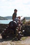 Cohen on a cannon at Fort James